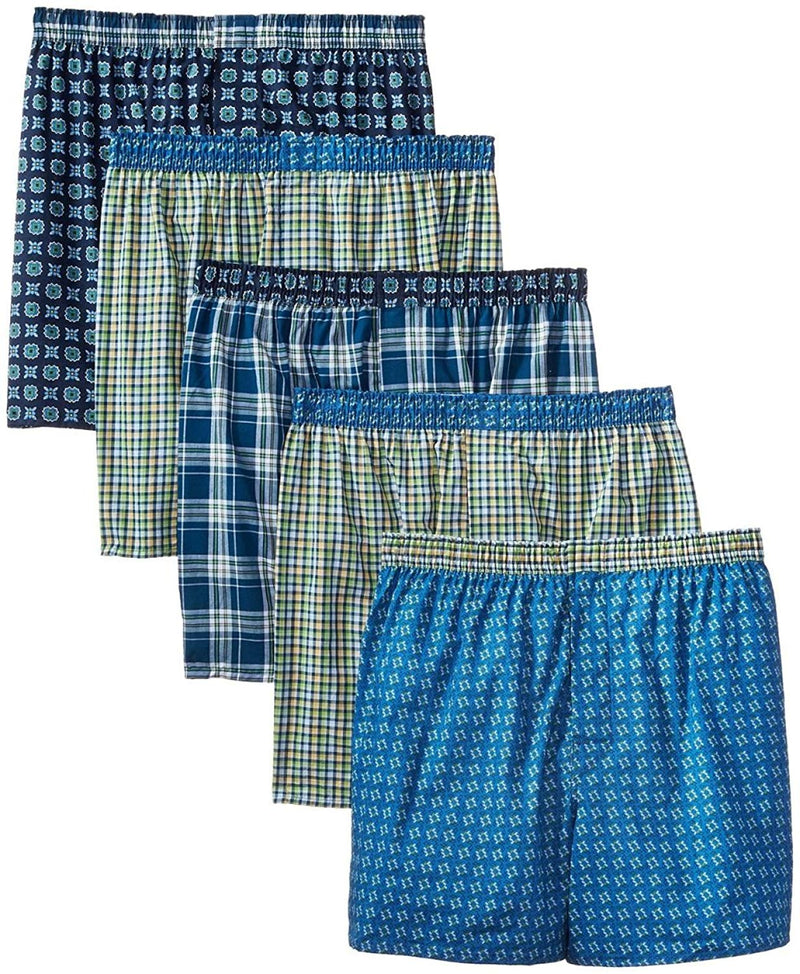 5-Pack Hanes Mens Covered Waistband Woven Plaid Boxer MFWBX5