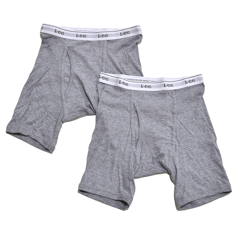 LEE Men's Boxer Briefs Tag Free Underwear 100% Cotton Pack of 2