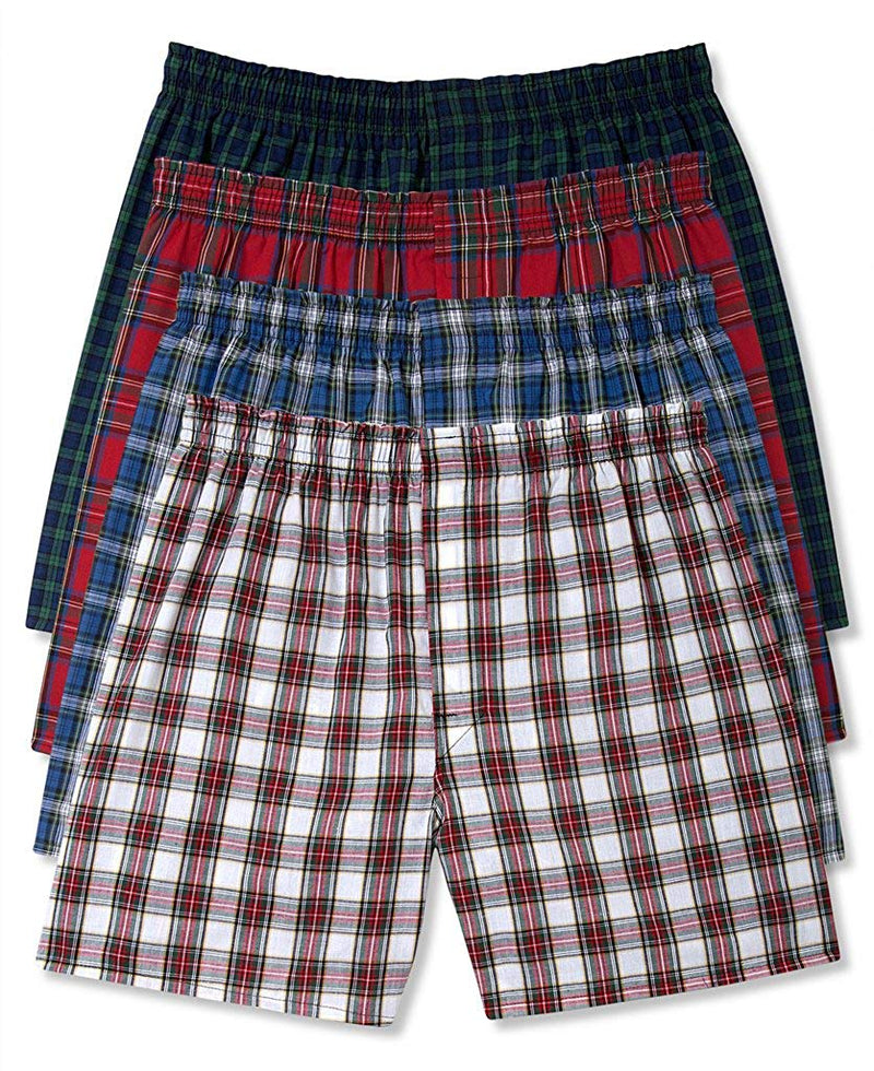 Hanes Men's 4Pack Assorted Plaid Boxer Shorts Boxers Underwear M
