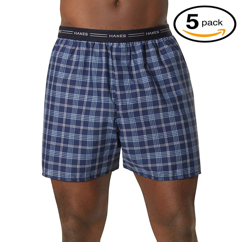 Hanes Men's Five-Pack Ultimate Tartan Boxers (Large, Exposed Plaid)