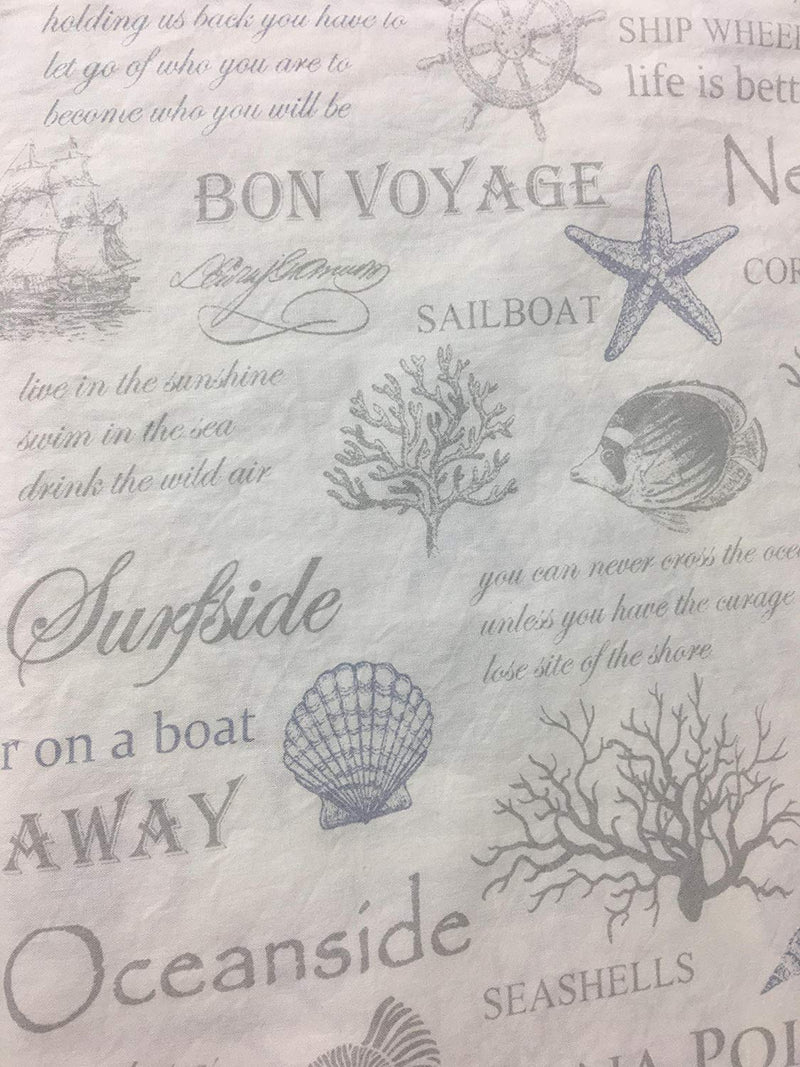 ENVOGUE Nautical Collection Casual Comfort 100% Washed Cotton Percale Coast to Coast Blue Grey Script, Sealife, Marine Symbols on White