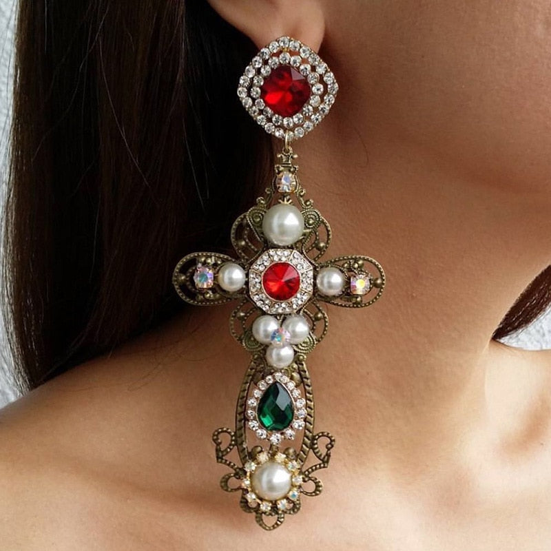 Bougie Cross Earrings
