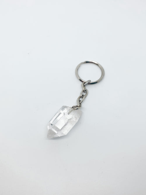 CLEAR QUARTZ CRYSTAL KEYRING