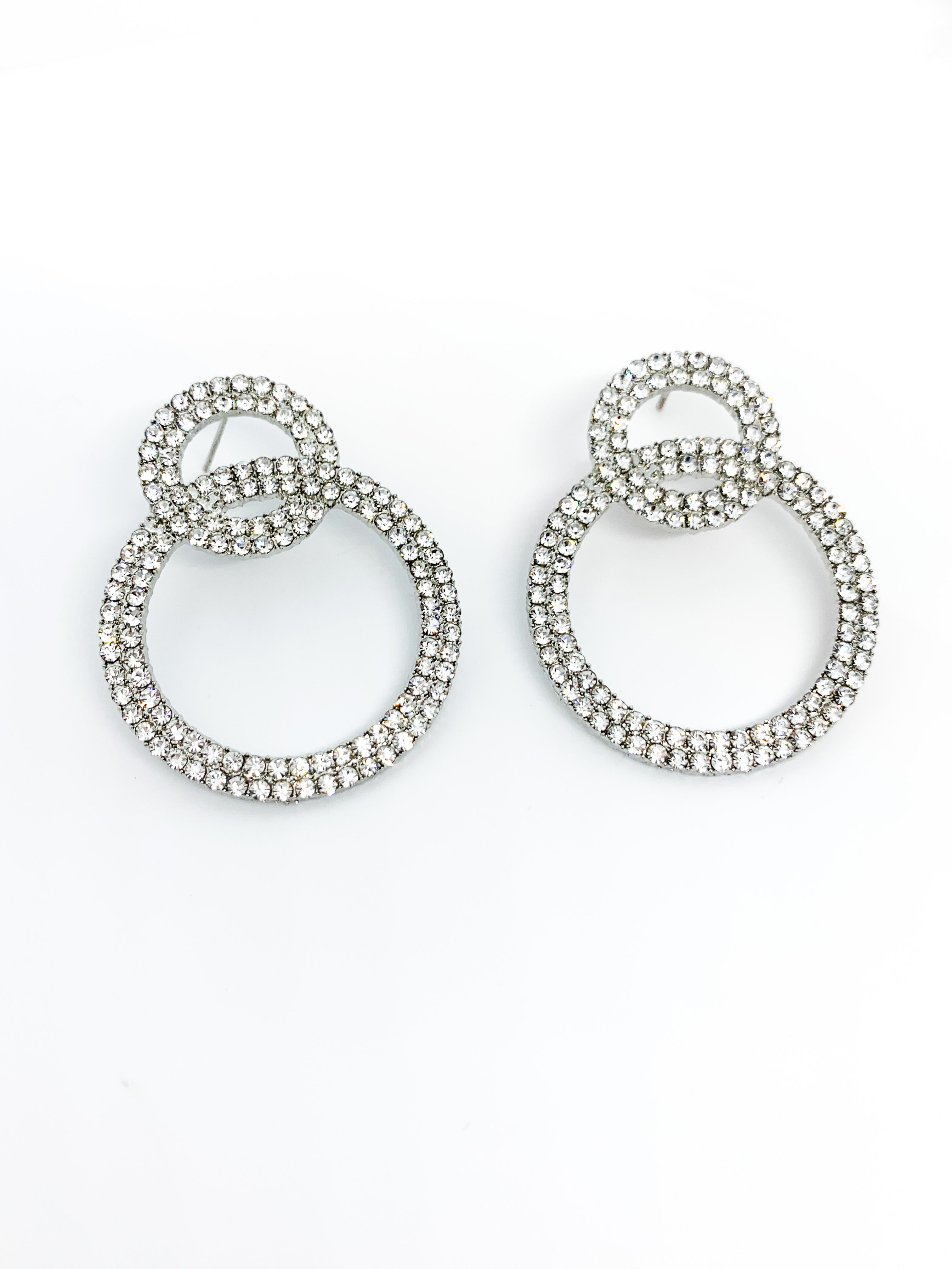 SILVER DIAMANTÉ DROP EARRINGS - Plush Boutique