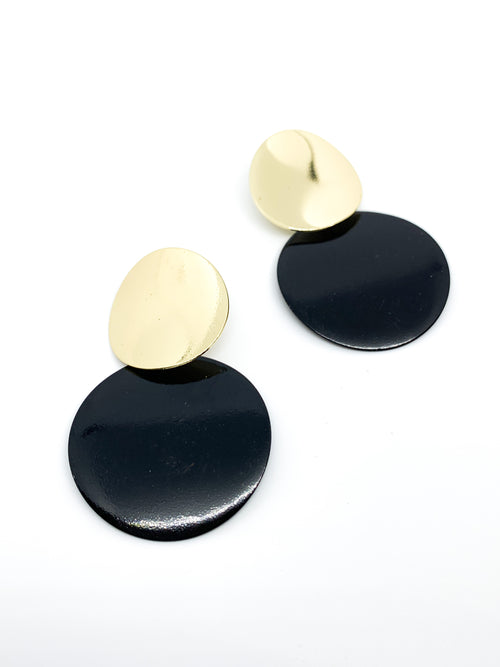 GOLD AND BLACK CIRCLE DROP EARRING - Plush Boutique