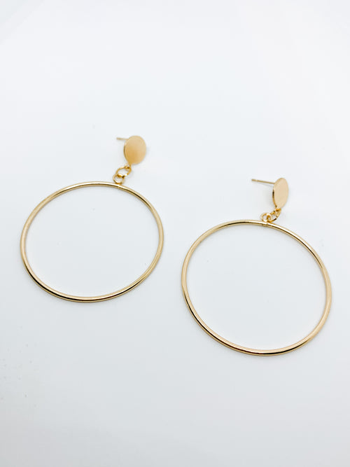 CIRCLE DROP EARRINGS GOLD - Plush Boutique