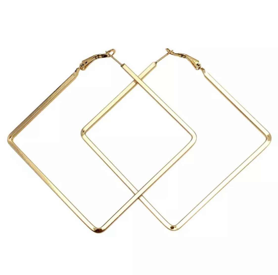 SQUARE HOOP EARRINGS GOLD - Plush Boutique