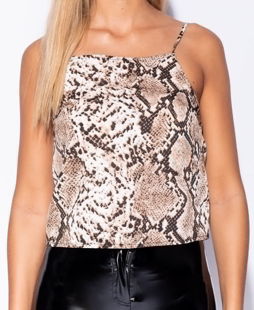 Snake Print Cami Top - Plush Boutique