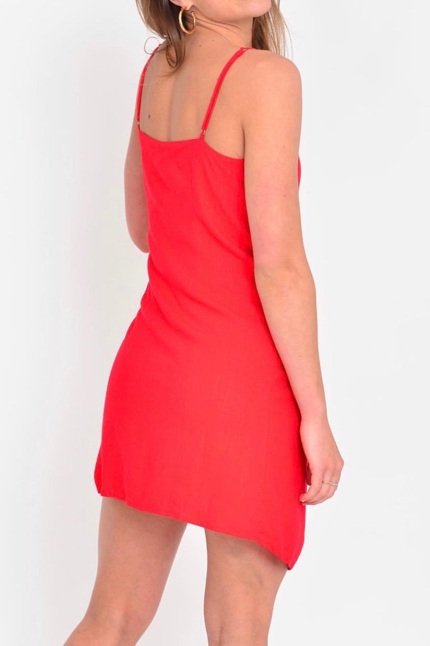 Charlotte Wrap Dress In Red - Plush Boutique