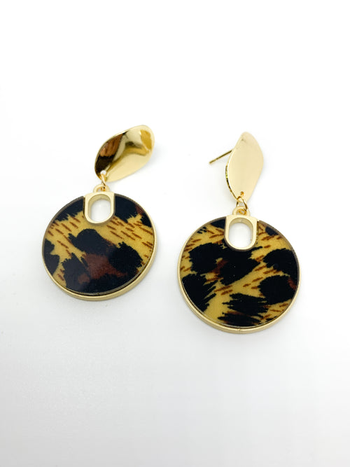 LEOPARD ROUND DROP EARRING - Plush Boutique