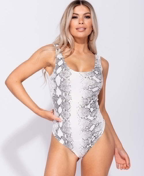 Snake Print Scoop Neck Bodysuit - Plush Boutique