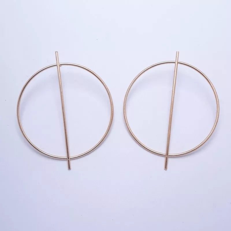 CIRCLE HOOP DROP STUD EARRINGS GOLD - Plush Boutique