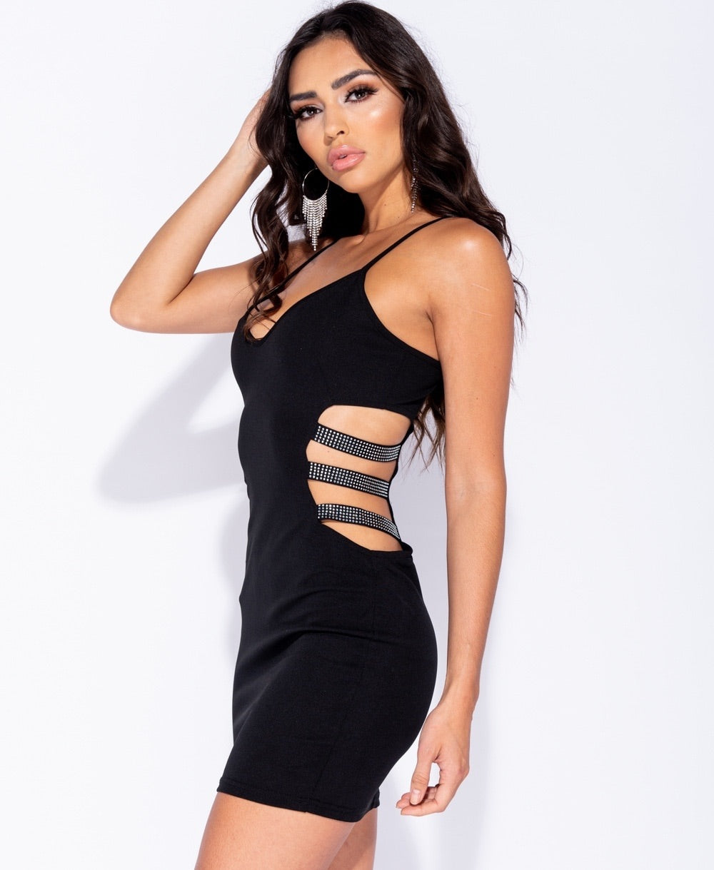 Diamanté Trim Dress - Plush Boutique