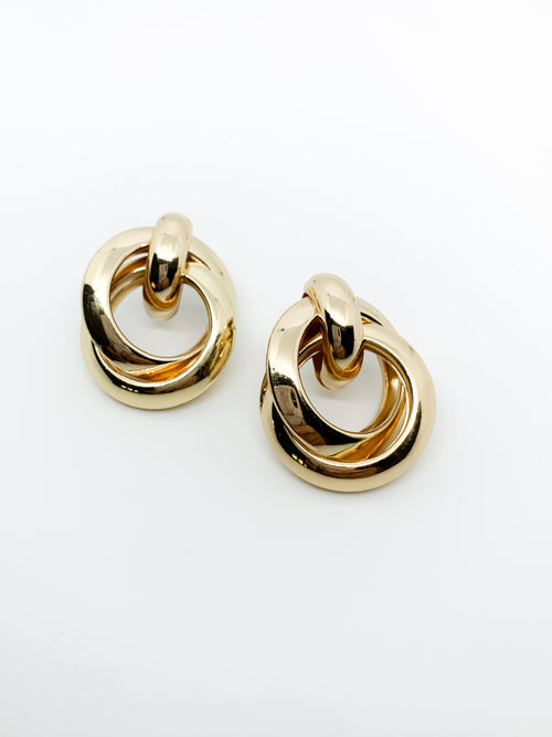 GOLD CIRCLE DROP EARRINGS - Plush Boutique