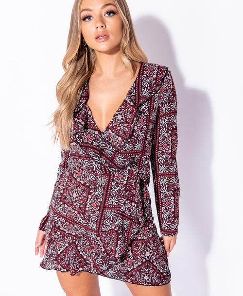 Paisley Wrap Dress - Plush Boutique