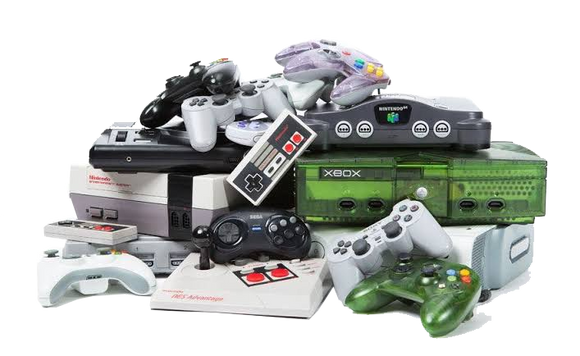 Various high quality retro gaming consoles with controllers
