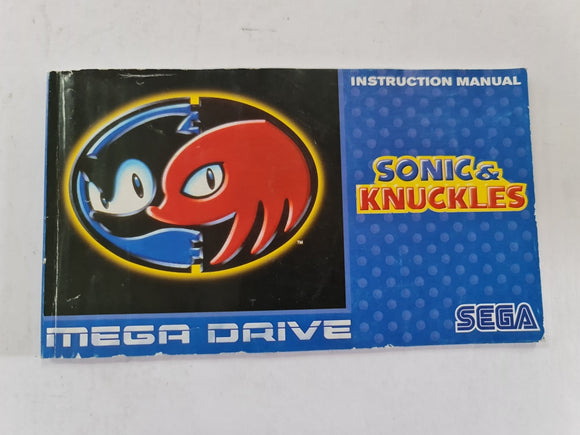Sonic And Knuckles Instruction Booklet Manual