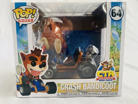 Crash Bandicoot Crash Team Racing Nitro Fueled Crash on Go Kart #64 Funko Pop Vinyl Brand New & Sealed