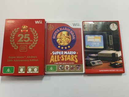 Super Mario All Stars Complete In Original Case & Super Mario Bros History DVD