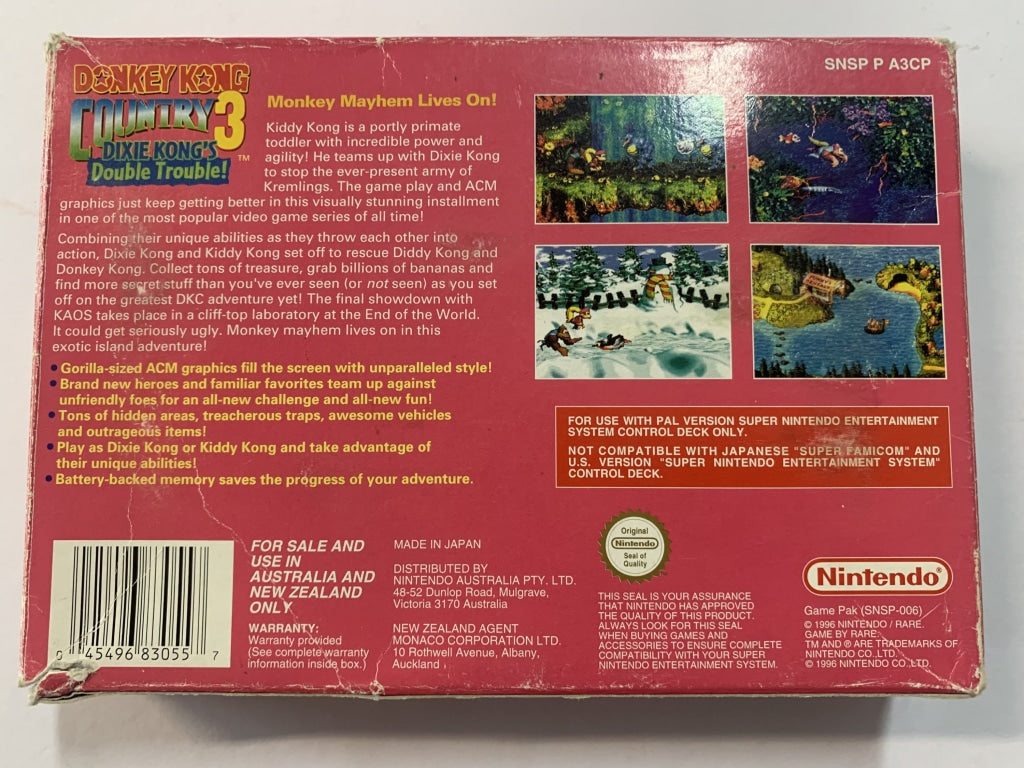Donkey Kong Country 3 Dixie Kong's Double Trouble Complete in Box