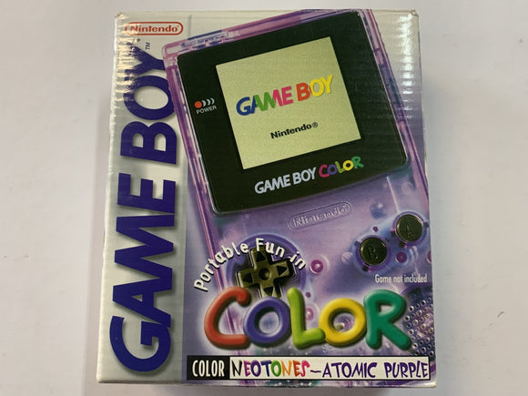 Atomic Clear Purple Gameboy Color Console Complete in Box
