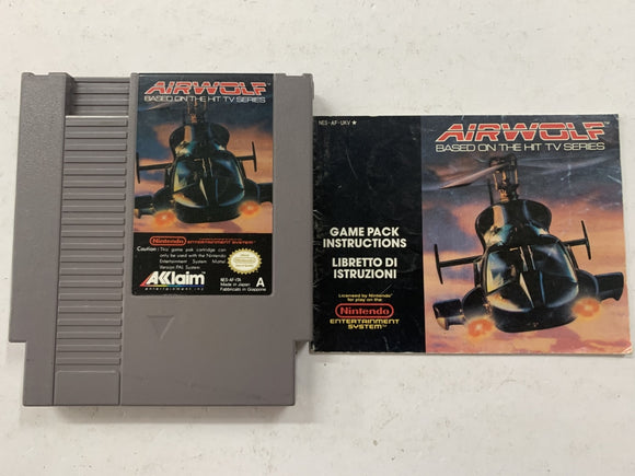 Airwolf Cartridge with Game Manual