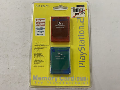 Genuine Official Sony Playstation 2 Memory Card Crimson Red & Island Blue Double Pack Brand New & Sealed