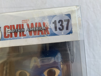 Marvel Captain America Civil War With Shield #137 Funko Pop Vinyl Pre Owned Unopened Free Protector
