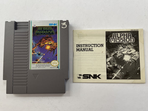 Alpha Mission Cartridge with Game Manual