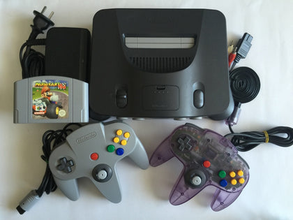 Nintendo 64 N64 Console With 2 Controllers & Mario Kart