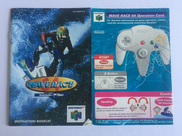 Wave Race Game Manual and Operation Card
