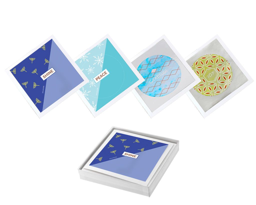 Set of 12 Sticker Keepsake Cards - Chanukah