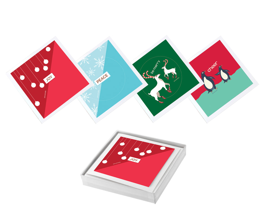 Set of 12 Sticker Keepsake Cards - Christmas