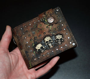 Leather wallet with skulls . Mad Max