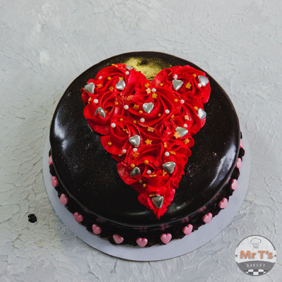Valentine red heart cake brisbane