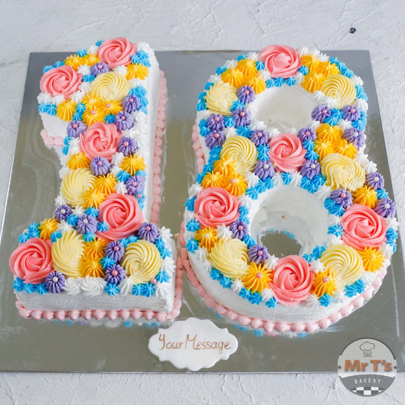 Superb 18Th Colorful Letters Birthday Cake Personalised Birthday Cards Veneteletsinfo