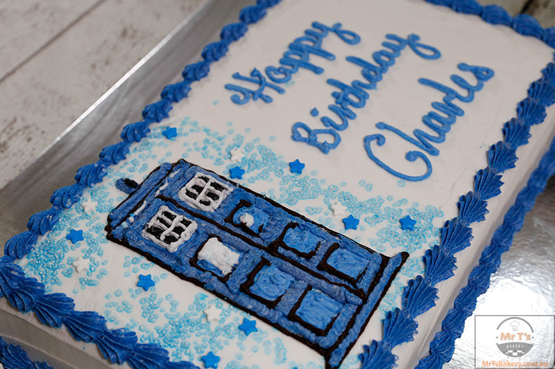 Tardis Birthday Cake Doctor Who Theme Mr Ts Bakery