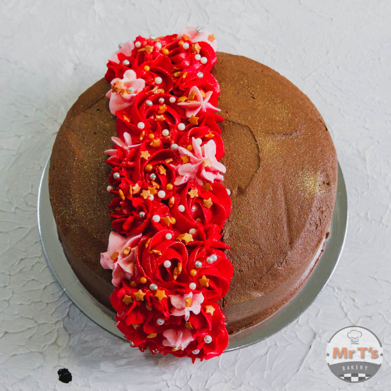 Red And Brown Valentine Cake