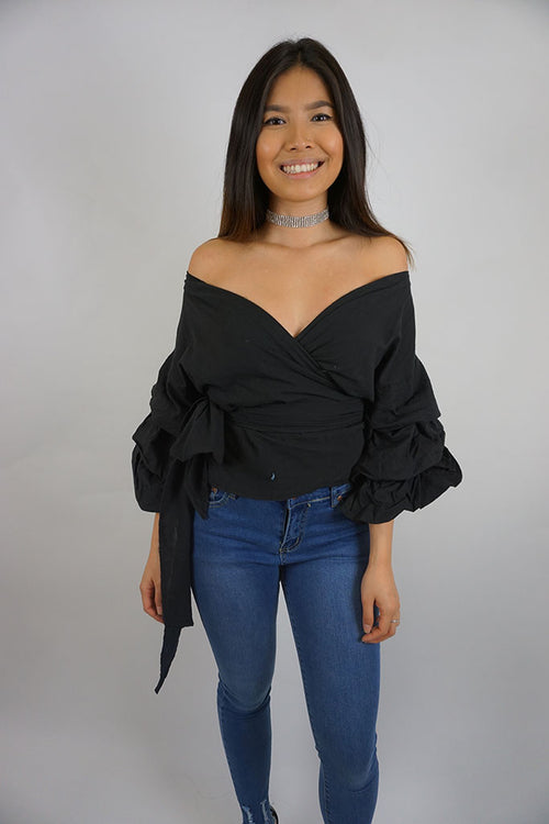 Esmerelda Wrap Top - Black