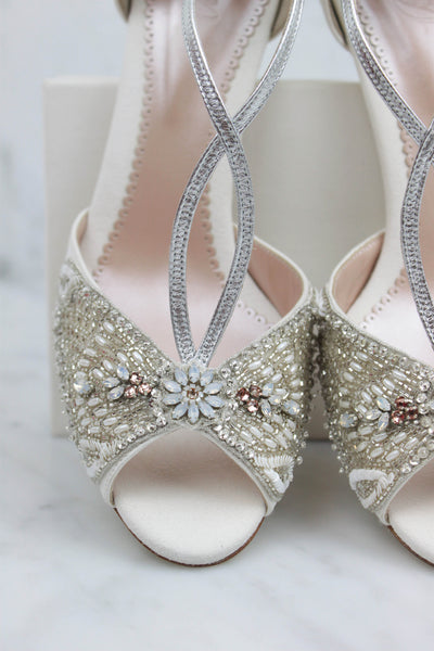 Emmy London Bespoke Bridal Shoes with Embellishments and Flower Details