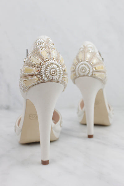 Emmy London Bespoke Bridal Shoes with High Heel and Platform Support