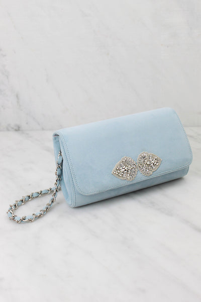 Emmy London Bespoke Clutch Bag in Duck Egg Blue with Silver Details