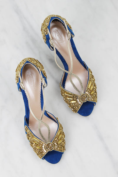 Emmy London Bespoke Blue and Gold Shoes
