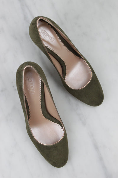 Emmy London Olive Green and Blush Bespoke Court Shoes