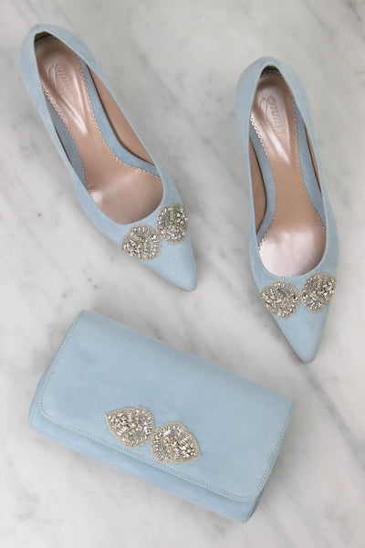 Emmy London Matching Shoe and Clutch Bag in Powder Blue Created Using the Bespoke Service