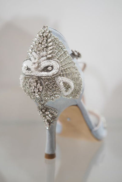 Emmy London Bespoke Shoes and Accessories Blue Embellished Bridal Shoe