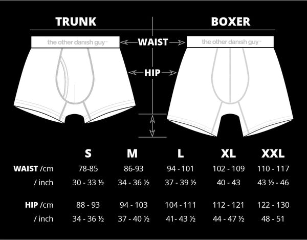 Globetrotter Boxer Briefs and Traveller Trunks - Size Chart. e26db8491a20