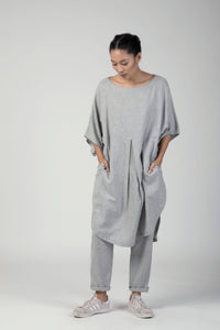 Melange grey Front pleat u-shape dress Co-ord