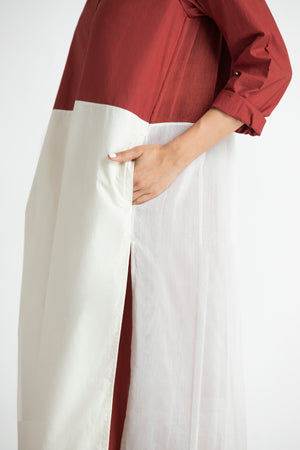 Back Pleat Jacket- Madder Red-Ivory