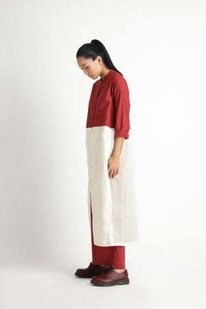 Back Pleat Jacket Co-ord- Madder Red
